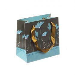 Flowers Teal Paper Gift Bag - Ribbon Handles 12x12cm PK1