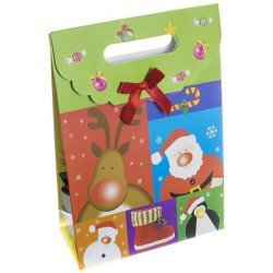Christmas Gift Bag - Fold Over Velcro Handle 27x18cm PK1
