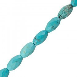 "Natural Turquoise Rice Beads Faceted 20mm 15.5"" Strand"
