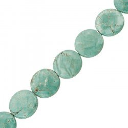 Natural Turquoise Coin Beads Faceted 20mm (15