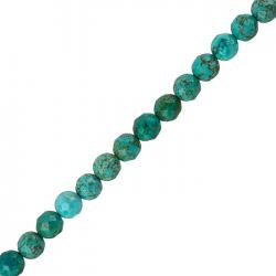 Natural Turquoise Faceted Beads Round 8mm 15.5""