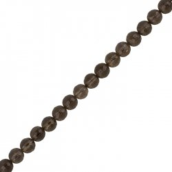 "Faceted Smoky Quartz Beads Round Stone 6mm 7.5"" Strand"
