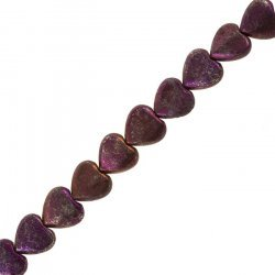 "Natural Pyrite Heart Beads 12mm - Purple (14.5"" Strand)"