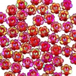 10mm Transparent Acrylic Flower Pony Beads Red AB PK50