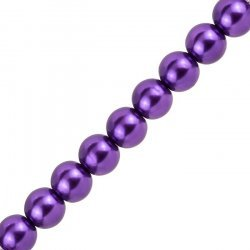 "12mm Glass Pearl Beads Round - Purple (On 15.5"" Strand)"