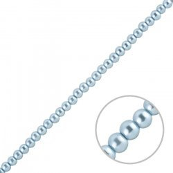 """Glass Pearl Beads Round Light Blue 4mm - On 16"""" Strand"""