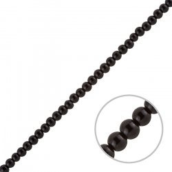"Black Round Glass Pearl Beads 4mm (Sold on 16"" Strand)"