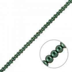 "Glass Pearl Beads Round 4mm Dark Green (On 16"" Strand)"
