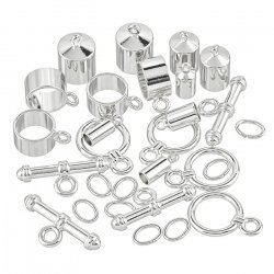 Kumihimo Barrel End Findings Assorted Pack Silver Plated