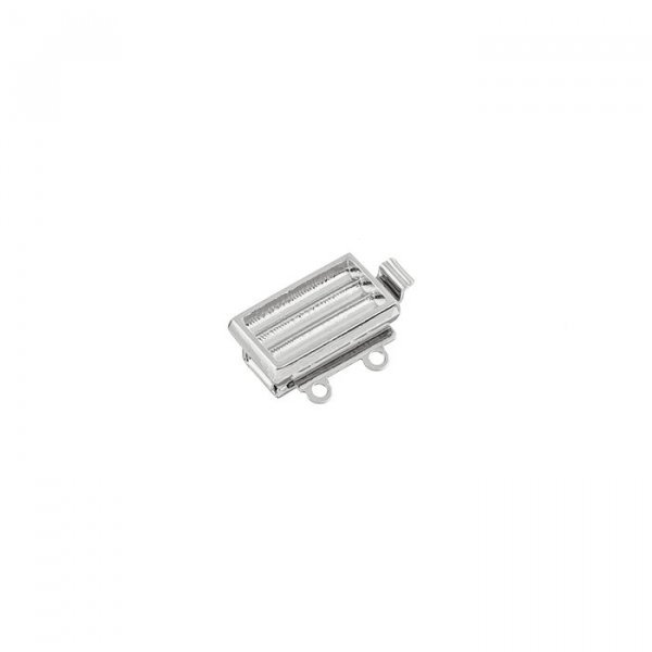 2 Hole Strand Clasp Silver Plated For Delica Beads 13mm