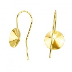 24K Gold Plated Fish Hook Earwires For 10mm Rivoli PK2