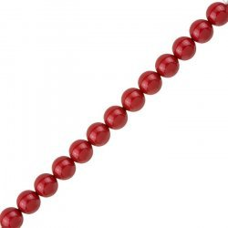 8mm Swarovski Crystal Pearl Beads 5810 Red Coral PK25