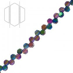 Honeycomb Czech Glass Beads Magic Blue/Pink (6mm) PK30