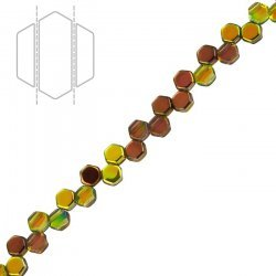 Honeycomb Czech Glass Beads Magic Yellow/Brown 6mm PK30