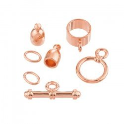 4mm Bullet Shaped Kumihimo Findings Set Copper Plated