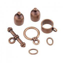 6mm Bullet Kumihimo Finding Set Antique Copper Plated