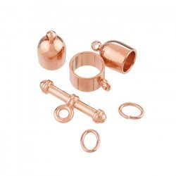 Bullet Shape Kumihimo Finding Set (6mm) Copper Plated