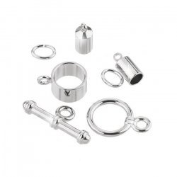 Barrel Shaped Kumihimo Findings Set (4mm) Silver Plated