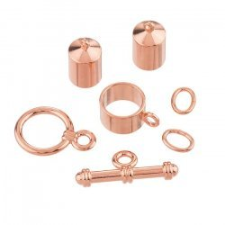 6mm Barrel Shaped Kumihimo Findings Set Copper Plated