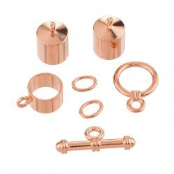 8mm Barrel Shaped Kumihimo Findings Set Copper Plated