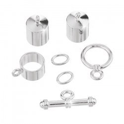 8mm Barrel Kumihimo Accessory Finding Set Silver Plated