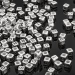 6mm Acrylic Mix Alphabet Letter Cube Beads Silver 100g