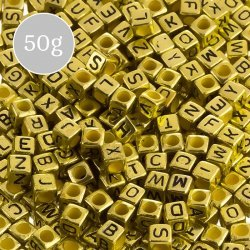 6mm Mix Alphabet Letter Beads Acrylic Cubes (Gold) 50g