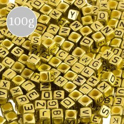 Mix Alphabet Letter Beads 6mm Acrylic Cubes (Gold) 100g
