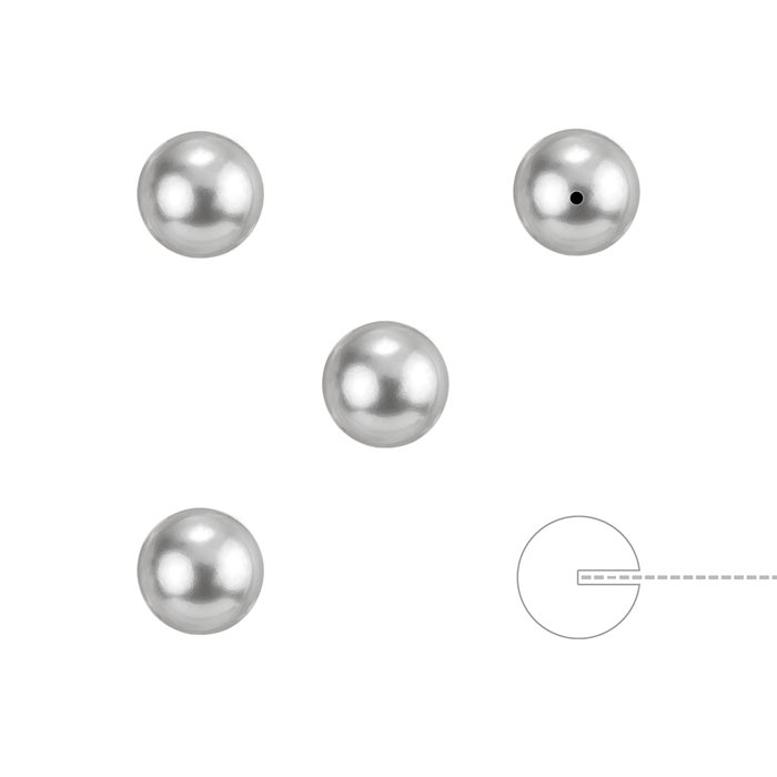 Sold as a Pack of 4 K56//2 Swarovski 5818 Half Drilled Pearls Light Grey 6mm