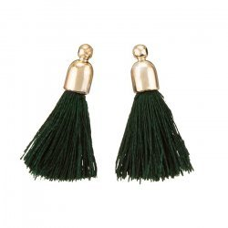 Dark Green Cotton Tassel Charms & Gold Plated Cap PK2
