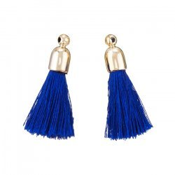 Cotton Tassel Charms & Gold Plated Caps 32mm (Blue) PK2