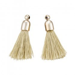 Cotton Tassel Charms & Gold Plated Cap Beige (20mm) PK2