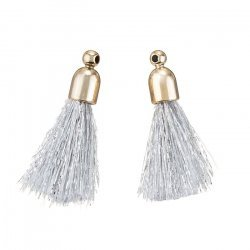 Silver Cotton Tassel Charms & Gold Plated Cap 20mm PK2