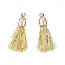 Gold Cotton Tassel Charms & Gold Plated Cap (20mm) PK2
