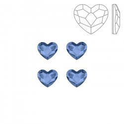 Swarovski 2808 Hotfix Flatback Heart Denim Blue 6mm PK4