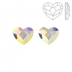 Swarovski Hotfix 2808 Flat Backs Heart Crystal AB 10mm