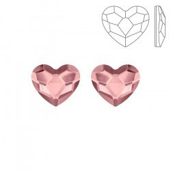 Swarovski 2808 Hotfix Heart Flatbacks Antique Pink 10mm