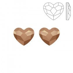 Swarovski Hotfix 2808 Heart Flatback 10mm Rose Gold PK2