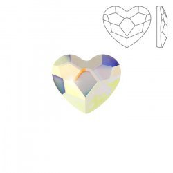 Swarovski 2808 Hotfix Heart Flat Back Crystal AB (14mm)