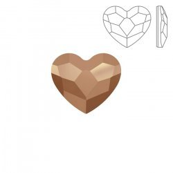 Swarovski Hotfix 2808 Flatback Heart 14mm Rose Gold PK1