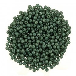 Czech Round Druk Beads True 2mm Chalk Dark Green Luster