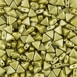 Czech Kheops® Par Puca® Triangle Beads Pastel Lime 6mm