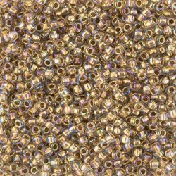 Toho 8/0 Seed Beads 3mm Gold Lined Rainbow Crystal 10g