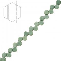 Czech Glass Honeycomb Beads Chalk Green Luster 6mm PK30