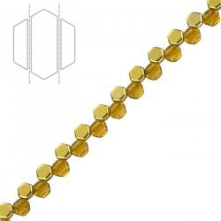 Czech Glass 2 Hole Honeycomb Beads Topaz Amber 6mm PK30