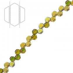 Honeycomb Czech Glass Beads Topaz Gold Rainbow 6mm PK30