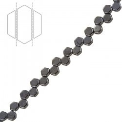 Czech Glass Honeycomb Beads 2 Hole Hematite (6mm) PK30