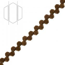 Czech Glass 6mm Honeycomb Beads 2 Hole Jet Bronze PK30