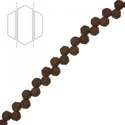 Czech Glass Honeycomb Beads Jet Bronze Matte (6mm) PK30