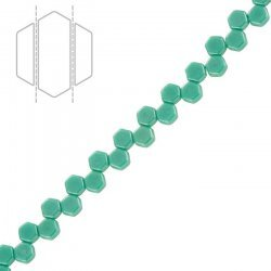 Honeycomb Czech Beads Green Turquoise Shimmer 6mm PK30